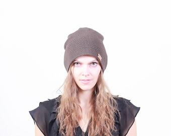 Brown beanie for women, crochet women slouchy beanie, slouchy hat for women, brown Spring hat, unisex beanie, women beanie, crochet beanie