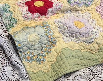 Green Flower Garden Quilt Layer/ Newborn Quilt Layer/ Cutter Quilt Piece