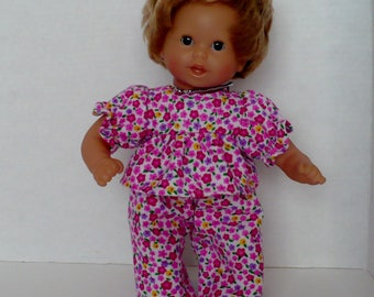 12 in Corolle or Baby Alive Flannel Pajamas with Tiny Pink, Red and Lavender Flowers