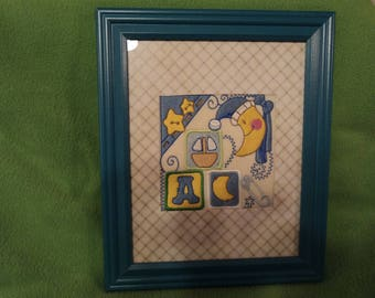 baby boy embroidered frame