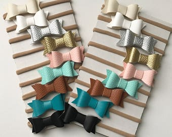 Choose your set. Mini faux leather bow Baby Headbands Faux Leather Bows Nylon Headbands Baby Bows Headband Set valentines bows mini bows