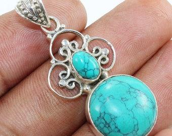 100% Solid 925 Sterling Silver Tibetan Turquoise Gemstone Handmade Jewelry Pendant