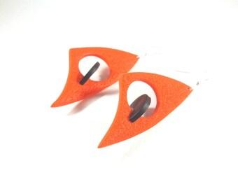 Black and red poppy earrings 3D