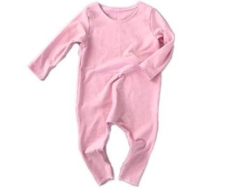 PINK Romper- Short or Long Sleeve | Short sleeve romper, harem romper, baby onesie, solid romper
