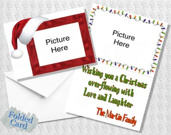 Christmas Card Santa hat; Multiple Photo; Holiday Card; Red; Green; Printed; Digital; PDF; Folded; Postcard; Shipped