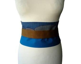 Wide waistband ethnic Artby blue camel