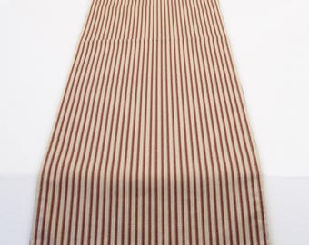 Red TickingTable Runner,  Reversible or Unlined Table Runner in Red Striped Ticking, Farmhouse Style Table Runner in Red and Ivory