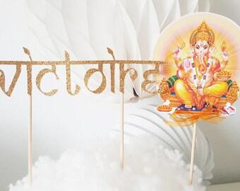 Décoration gâteau -prénom en pailleté or+ topper ganesh-thème hindou