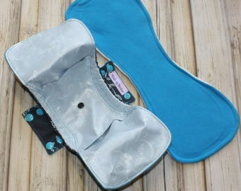 """16"""" postpartum gusseted cloth pad/ organic bamboo fleece pad/ pul backed/ mama cloth/ Made by Mother"""