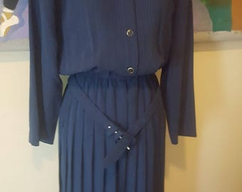 Vintage Blue Leslie Fay Midi Dress W/ Pleat Bottom & Belt