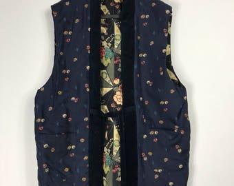 D907 Vintage Japanese Vest Haori Kimono Womens Cardigan Jacket Reversible