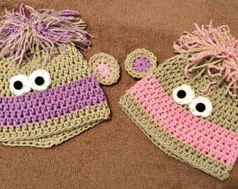 Newborn Twin Baby Monkey Beanies