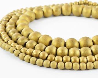 Hematite Matte Gold Gemstone Round Stone Beads 4mm/4.5mm/6mm/8mm/10mm natural stone healing stone chakra stones for Jewelry Making B Quality