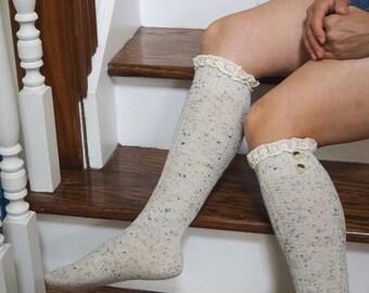 Extra 10% OFF Womens Knit Boot Socks, Knee High Socks with Lace,Knee high socks, Leg Warmers