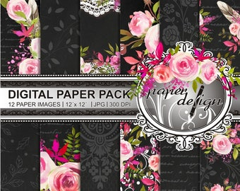 35% off 4 days sale watercolor flower digital paper instant download chalkboard scrapbooking - Lace Rosen Watercolour - romantic bloom #48