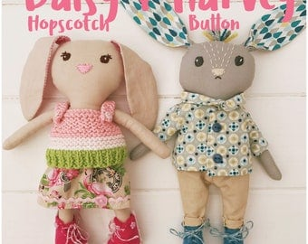 Mini Cloth Doll Rabbits 'Daisy and Harvey' with Clothes and Cottage Carry Case PDF Sewing Pattern
