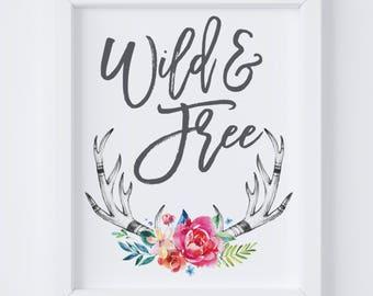 Wild & Free Nursery Digital Print | Nursery Wall Art | Tribal Wall Art | Woodland Nursery