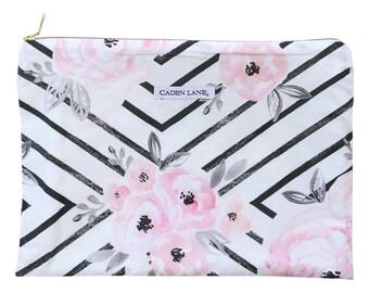 Jovi's Black Geo Floral Zippered Wet Bag  | White, Black & Pink Travel Bag | Cloth Diaper Zip Pouch |  Geometric Waterproof Bag