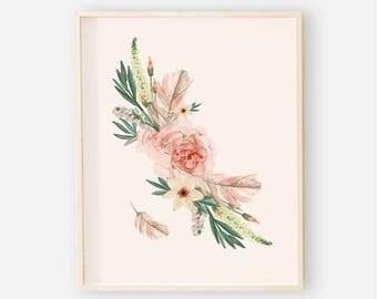 Blush Boho Nursery Digital Print | Girl Wall Art | Floral Wall Art | Floral Baby Girl Nursery Decor | Blush Boho Antler Wall Art 2