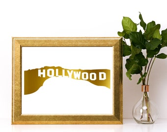 Gold foil print,Hollywood sign wall art,gold foil, foil print,gold foil wall art,gold foil art,foil art,Hollywood sign print,Hollywood sign