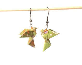 Origami doves earrings, origami, origami, Japanese paper jewelry, stainless steel hooks