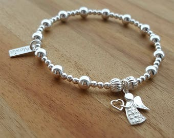 Sterling Silver Angel Bracelet, Angel Charm Bracelet, Silver Bead Bracelet, Stacking Bracelet, Gift for Her, Alexia Jewellery