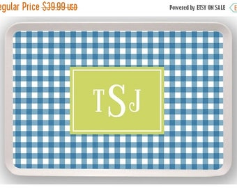 SALE Gingham Picnic Design Monogram Melamine Serving Tray - Custom Personalized Platter Housewarming Gift, Hostess Gift, Wedding Gift