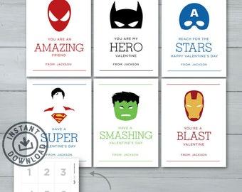 Kids Valentine cards   Superhero Valentines     Spiderman, Batman, Captain America, Superman, Hulk, Iron Man Valentine   Instant Download