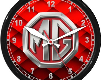 "10"" MG Wall Clock Garage Work Shop Gift Father's Day Man Cave Rec Room"