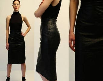 moving sale % Vintage D&G Black Leather High Waisted Pencil Skirt