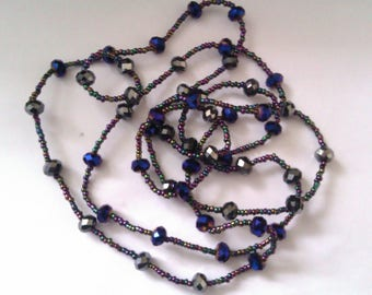 long micro and crystal bead necklace