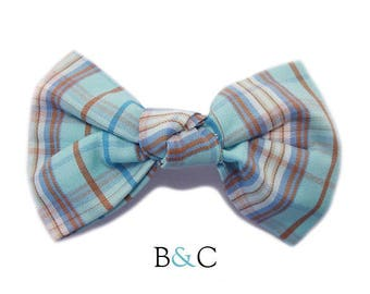 Hair bow tied Turquoise Tartan Plaid cotton fabric.
