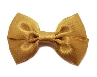 Camel Satin ribbon bow brooch.
