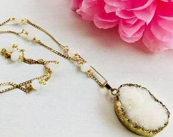 Druzy necklace, pendant necklace, long necklace, white necklace, long necklace white, necklace chain necklace chain and crystals