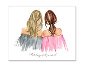 Best friend gift, Sister gift, Gifts for sister, Sisters illustration, friend gift, gift for sister, soul sister, Best friend illustration