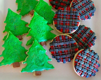 Woodland Cookies - Woodland Animals - Lumberjack Cookies - Baby Shower - Birthday - Plaid - Cabin Cookies - Logging - 1 Dozen!