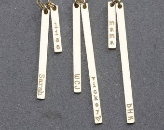 Multi Vertical Tag Necklace, Gold Tag Necklace,14k Gold Fill, Silver, Rose Gold Fill, Bridesmaid Gift (OL VM 3.16-40)