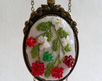 "OOAK Pendant embroidered ""Raspberry"" - Vintage necklace - Embroidered necklace - Unique jewelry - Gift for Her - Stylish accessory"