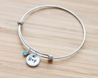 hand stamped rodan and fields charm bracelet | r+f