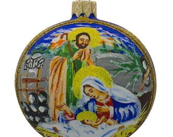 "3.25"" Joseph and Mary Admiring Baby Jesus Glass Ball Christmas Ornament"