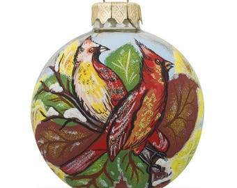"3.25"" Two Cardinal Birds Glass Ball Christmas Ornament"