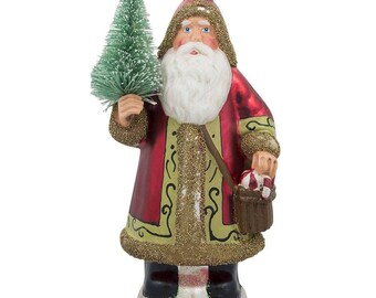 "6"" Santa Delivering Fir Tree Glass Christmas Ornament"
