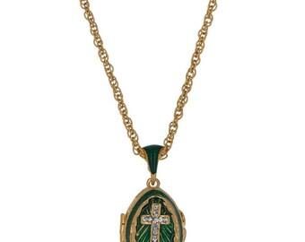 "Green Enamel Crystal Cross Royal Egg Pendant Necklace 22"""