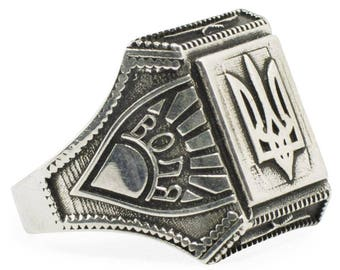 Sterling Silver Ukrainian Trident Tryzub Ring (Size 9)