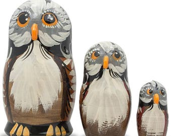 "5"" Set of 3 Owl Family Wooden Russian Nesting Dolls"