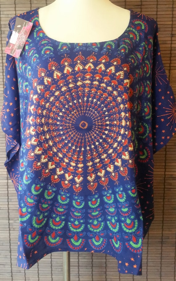 Midnight Smile Mandala top Mandala tunic short caftan short kaftan Hippie tunic crop top gypsy tunic short top summer top poncho top upto5Xl