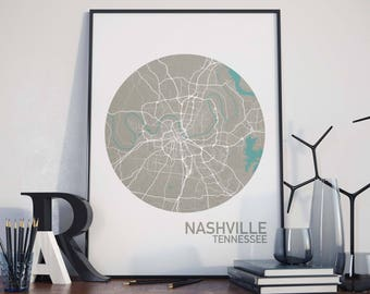 Nashville, Tennessee City Map Print