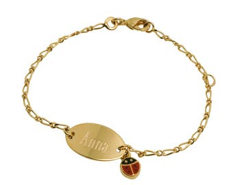 Ladybug engraved plated curb chain gold