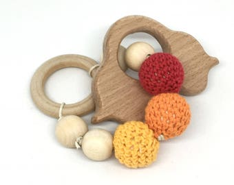 Red orange yellow car wooden beads rattle