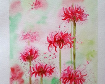 light pink flowers watercolor painting
